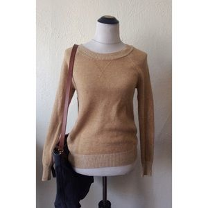 GAP tan crew neck thin lightweight knit sweater